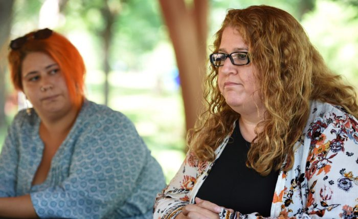 Libby Meyer, right, the sister of William Hughes, who was fatally shot by St. Paul police on Sunday, talks about her brother in Columbia Heights on Friday, August 10, 2018. On the left is a cousin, Sherrie Larson.  (Jean Pieri / Pioneer Press)